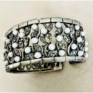 Vintage Monet Fashion Jewelry Cuff Bracelet Signed